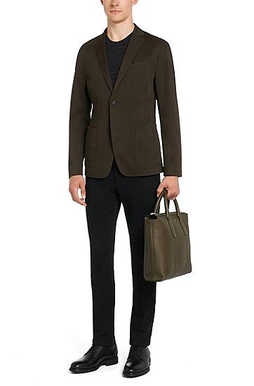 Melierter Regular-Fit Tailored Pullover aus reinem Kaschmir: 'T-Barno', Schwarz