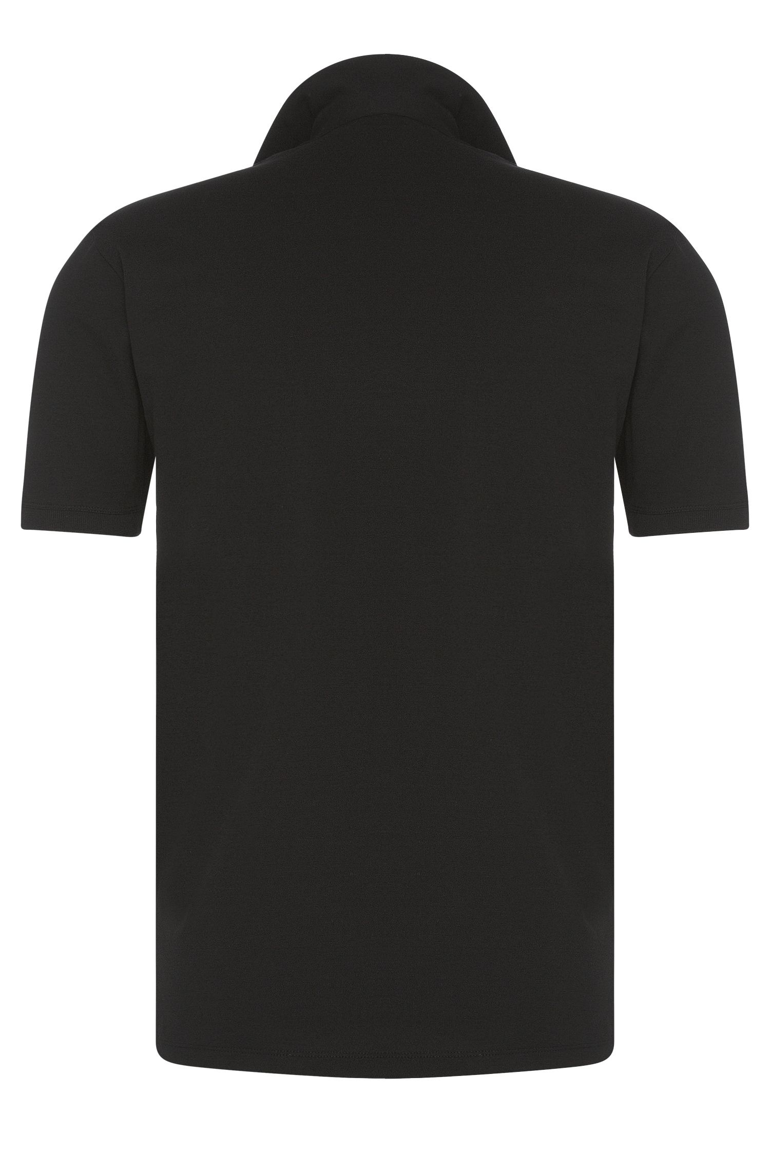 Regular-Fit Polo aus Stretch-Baumwolle mit Details in Leder-Optik: 'Dolorino'