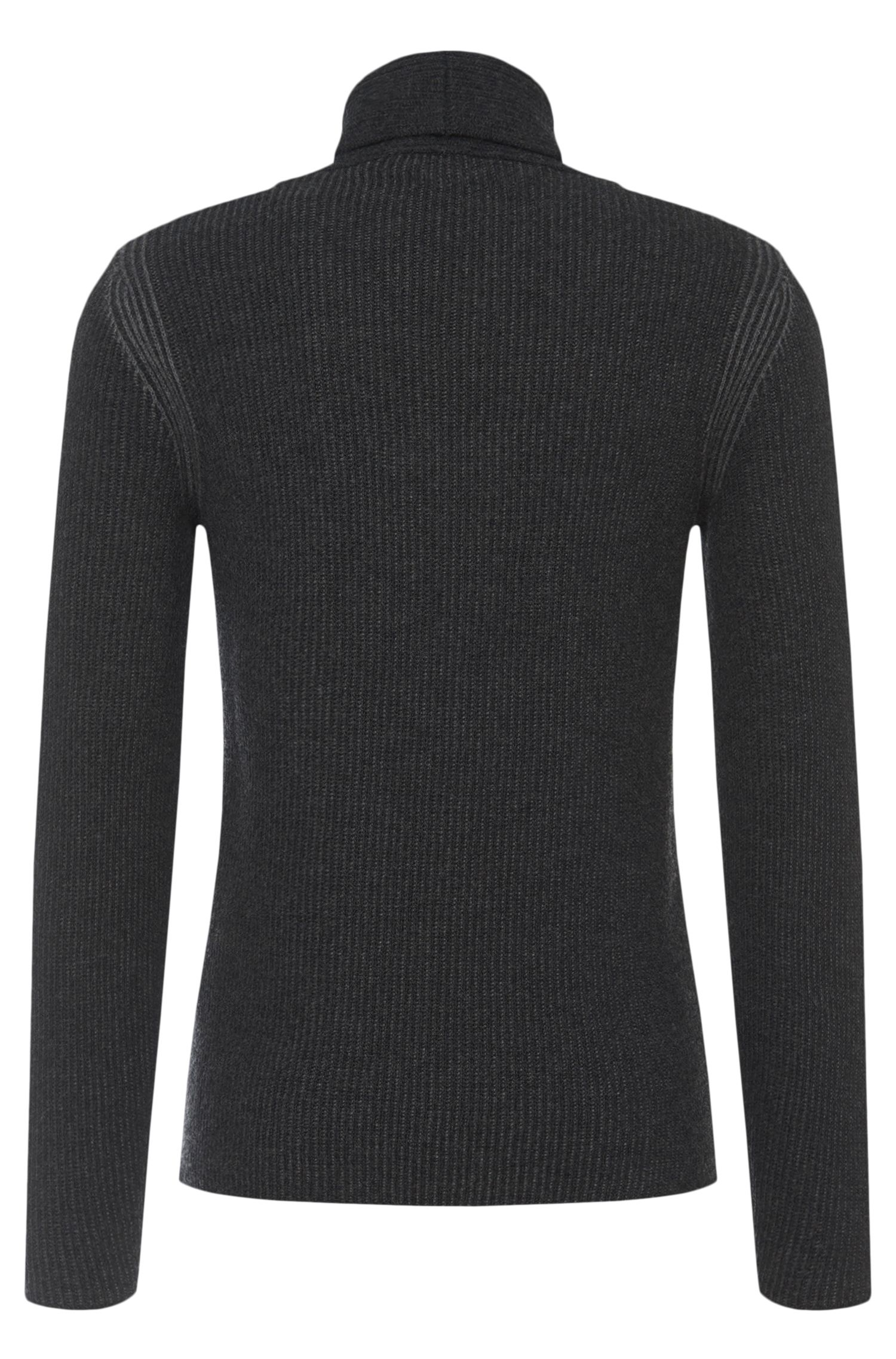 Pull Slim Fit en pure laine vierge à col rabattable : « Berno »