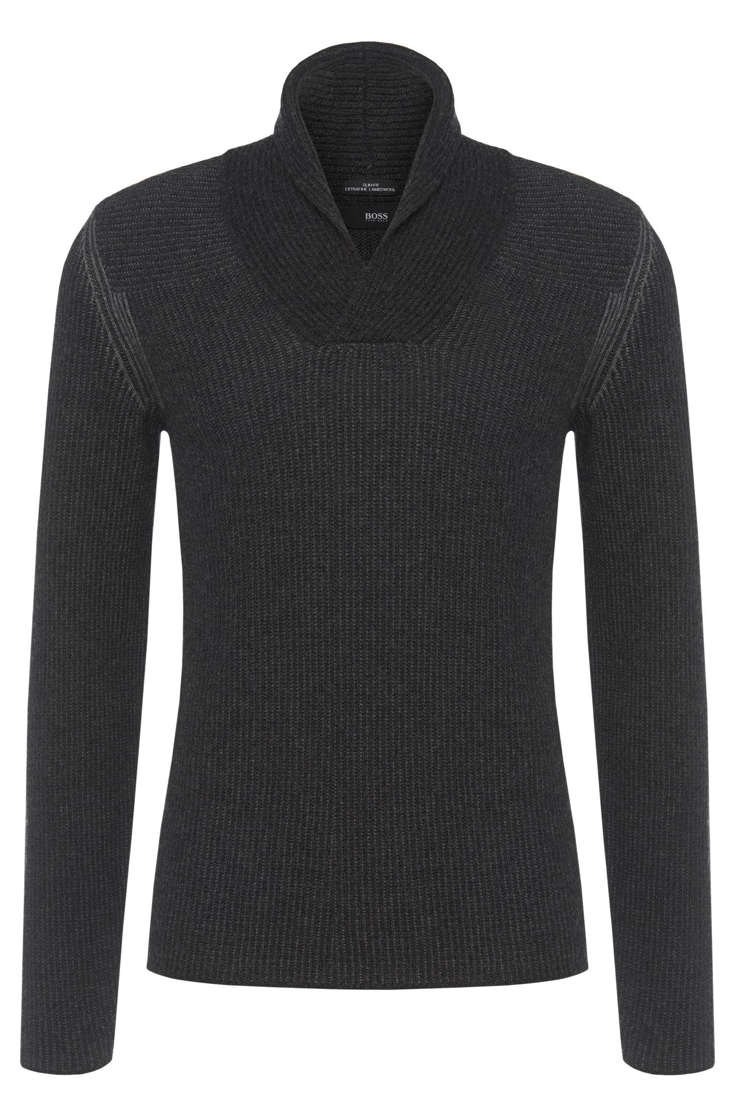 Slim fit sweater in pure new wool with turn-down collar: 'Berno'