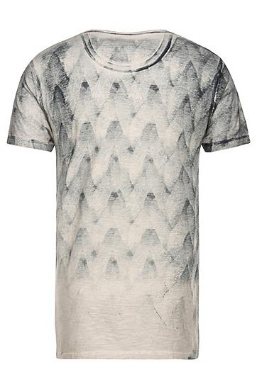 T-Shirt aus Baumwolle mit Print in Spray-Technik: ´Tiltown`, Beige
