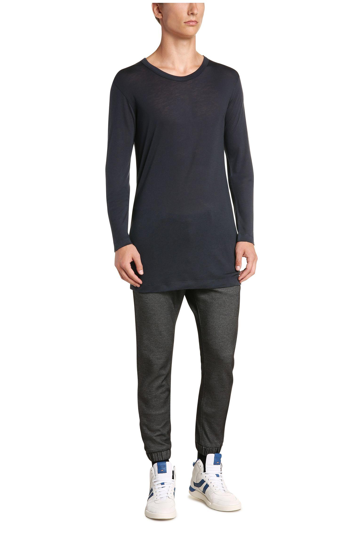 Regular-fit shirt met lange mouwen van een materiaalmix met wol: 'Tijuan'