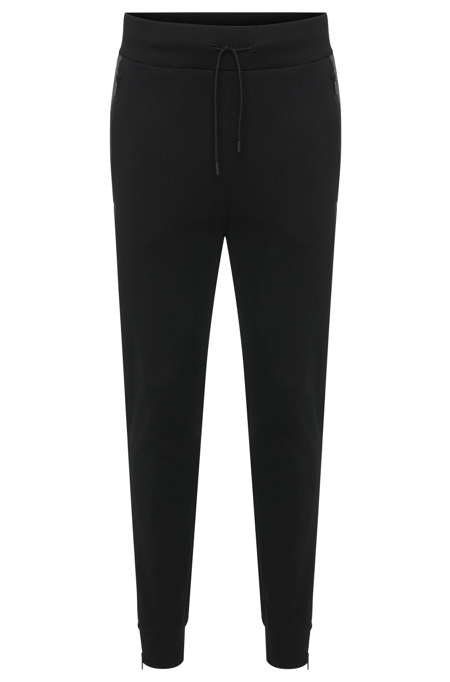 Pantalon sweat Regular Fit en coton doté de zips décoratifs : « Damalfi »