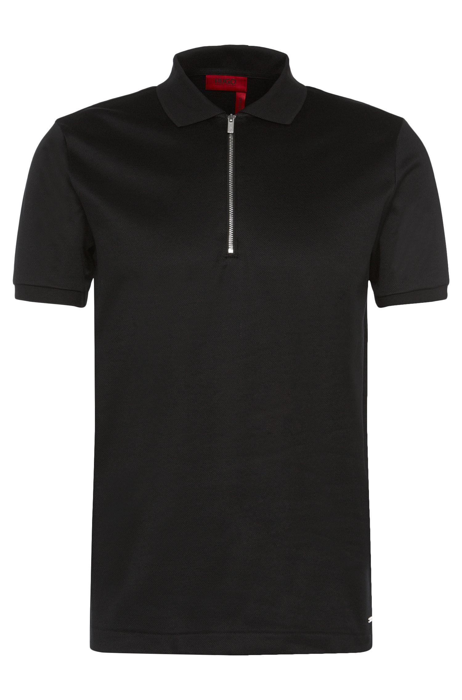 Regular-fit polo shirt in cotton with a fluted texture: 'Digato'