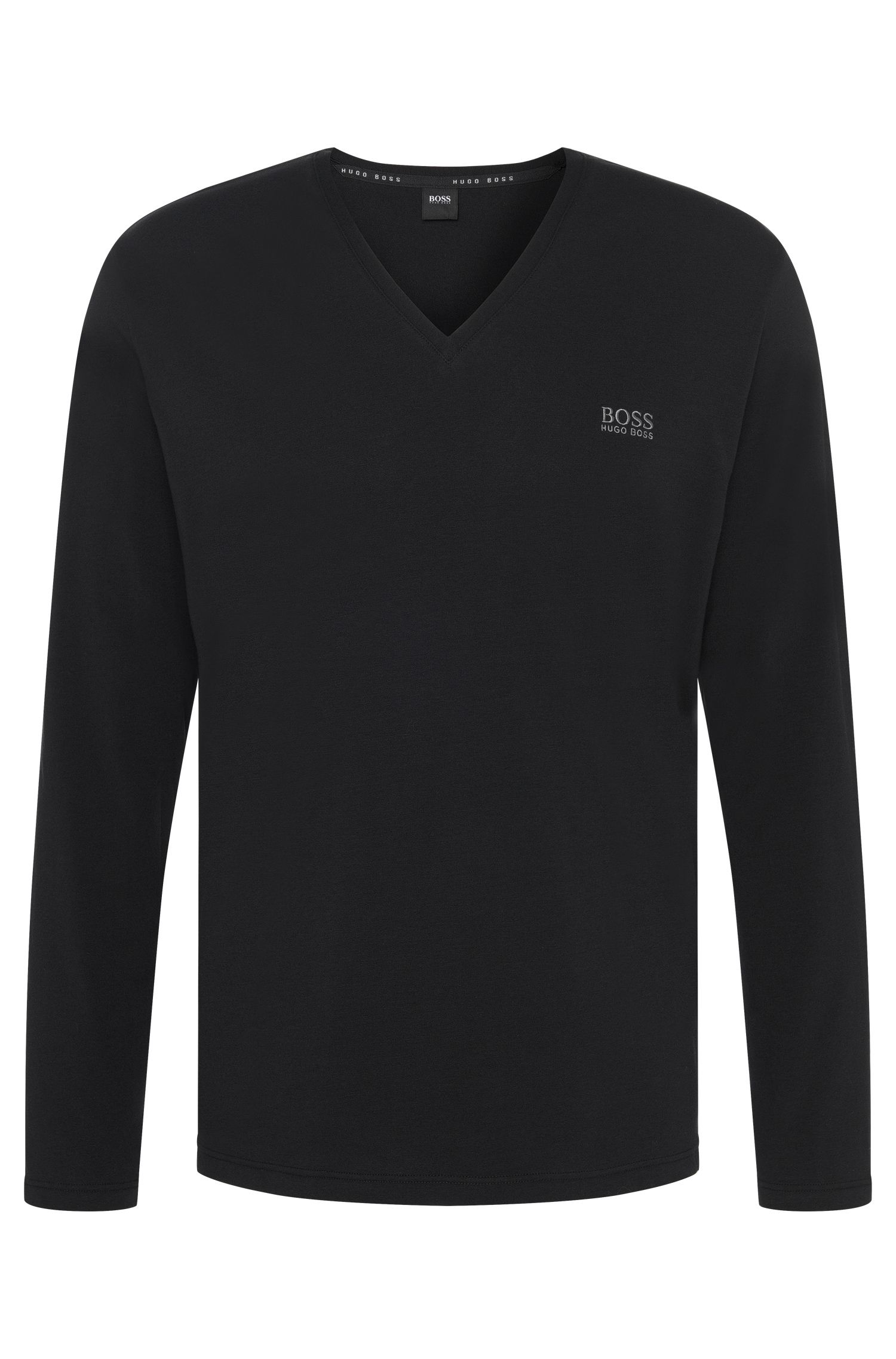 Long-sleeved shirt in stretch cotton with V-neck: 'LS-Shirt VN'