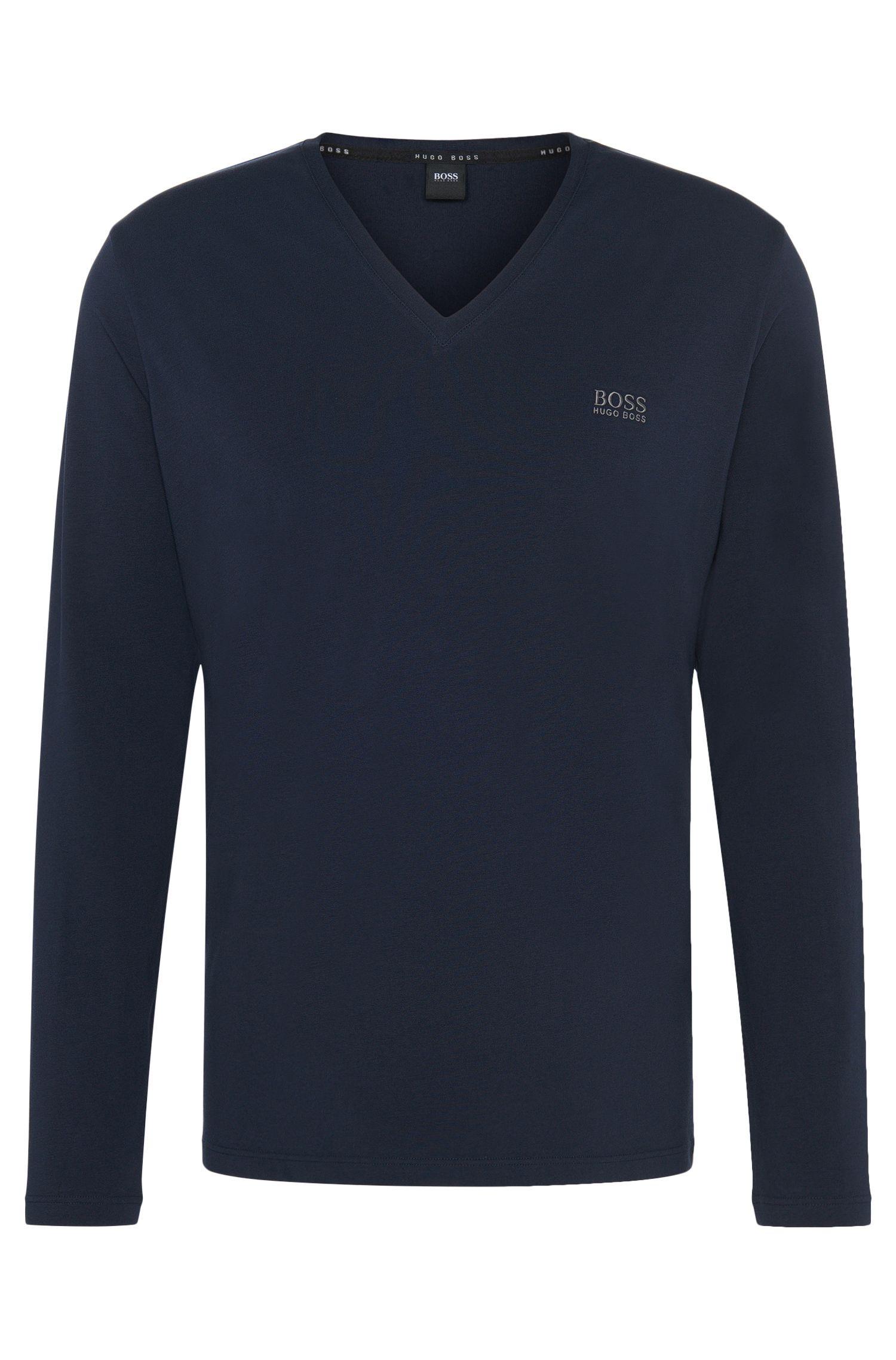 Longsleeve aus Stretch-Baumwolle mit V-Ausschnitt: 'LS-Shirt VN'