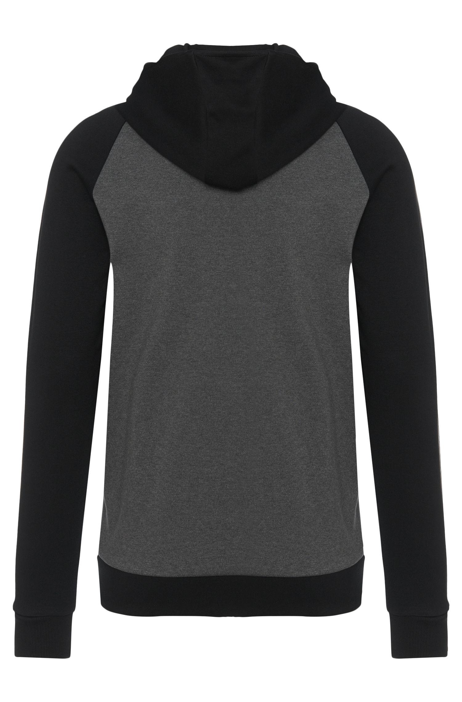 Loose-Fit Sweatshirtjacke aus Baumwolle mit Details in Leder-Optik: 'Dapri'