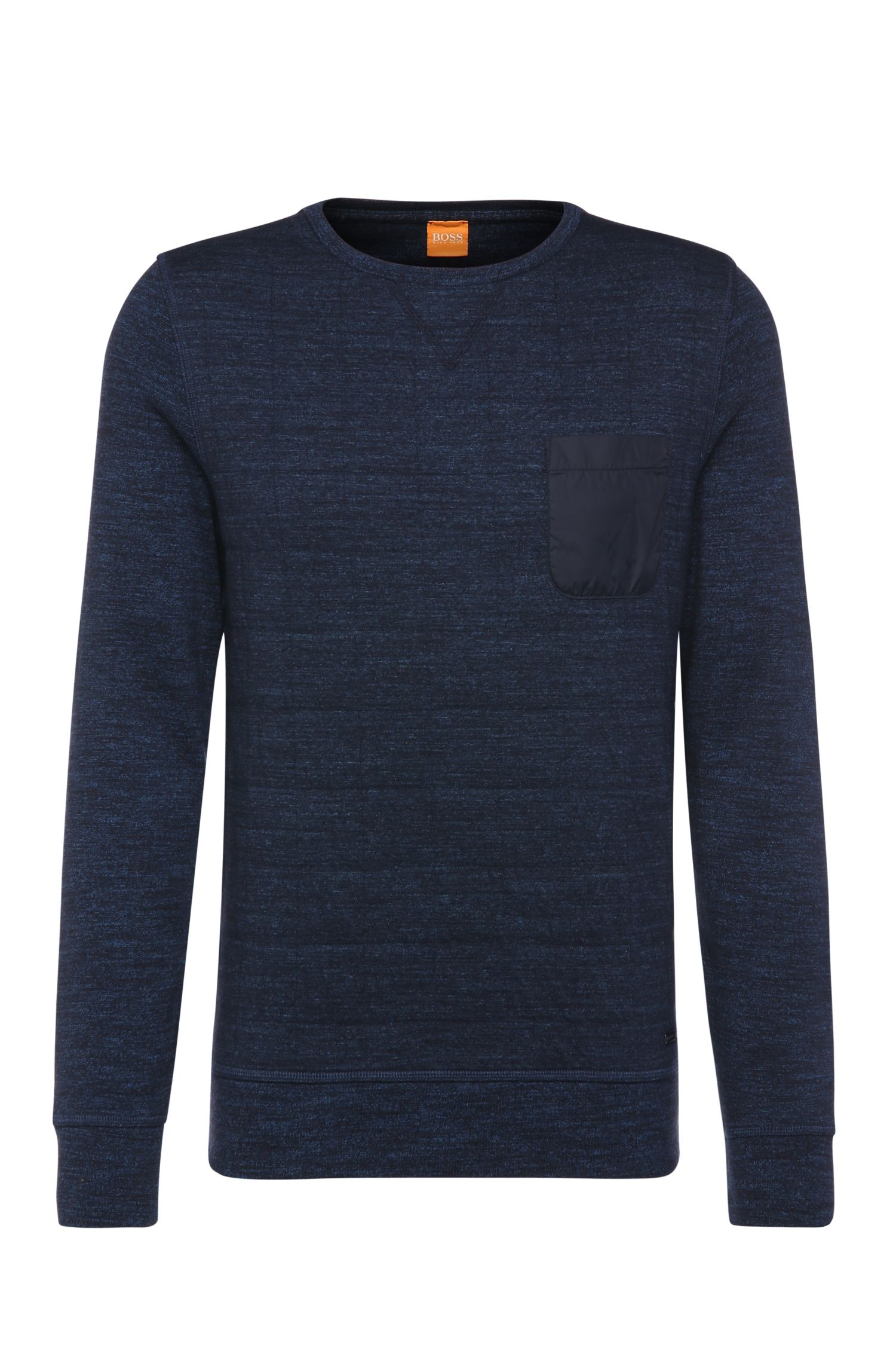 Mottled slim-fit cotton sweater with breast pocket: 'Windchill'