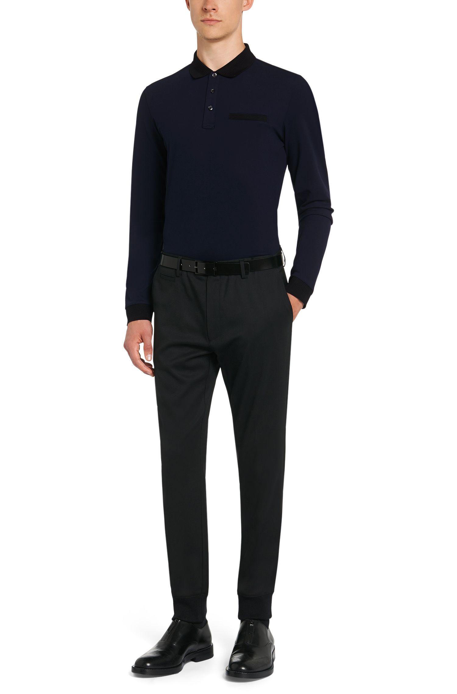 Polo à manches longues Regular Fit en coton mélangé stretch orné de détails côtelés: «Dexet»