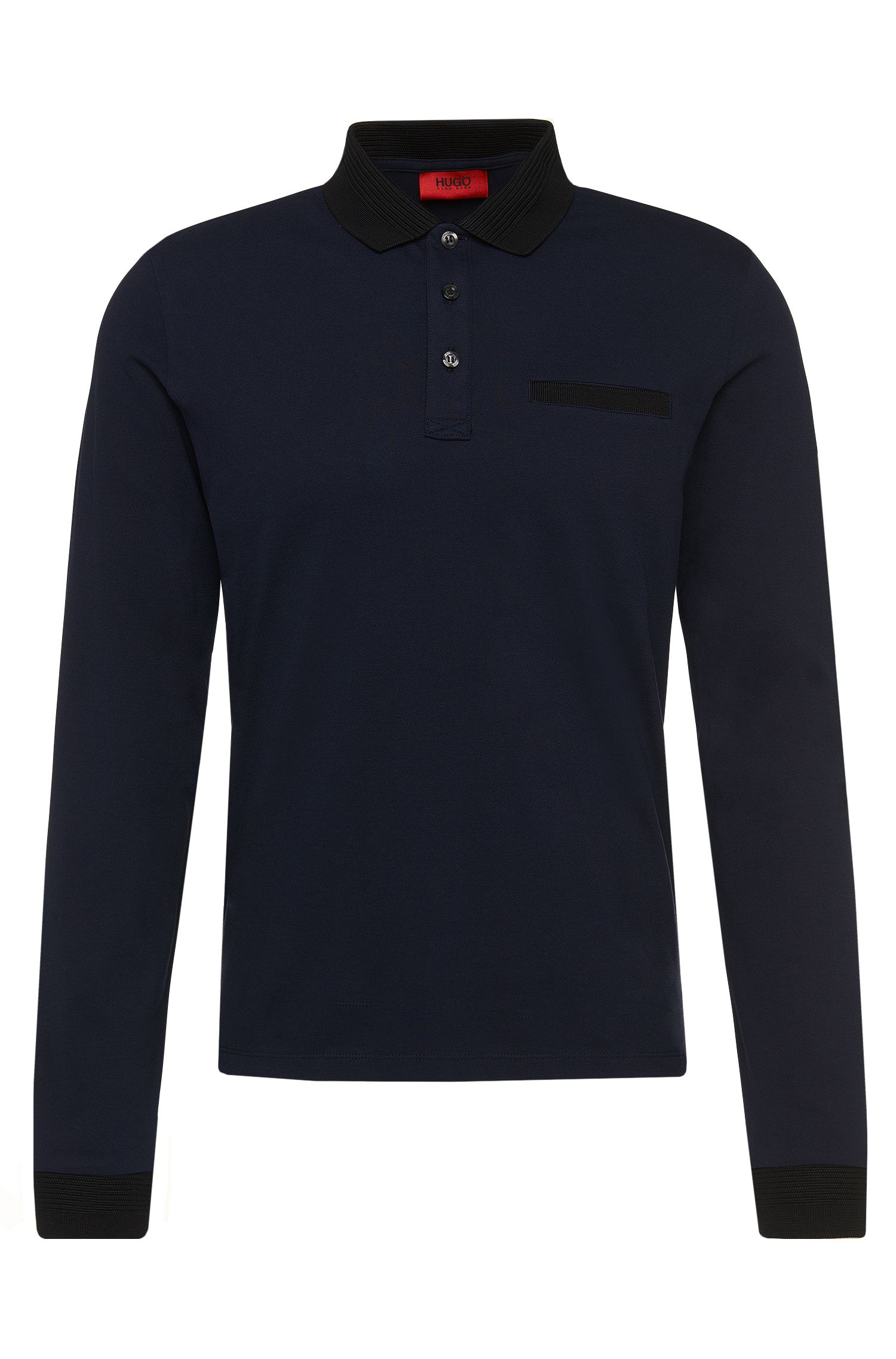 Regular-fit long-sleeved polo shirt in stretch cotton with ribbed details: 'Dexet'