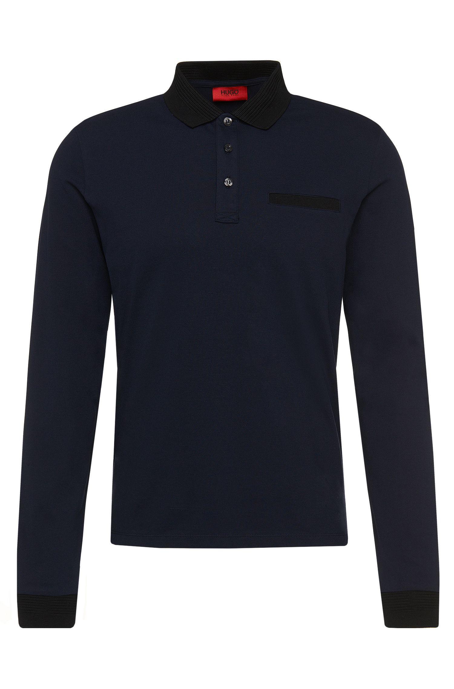 Regular-Fit Longsleeve-Poloshirt aus Stretch-Baumwolle mit Ripp-Details: 'Dexet'