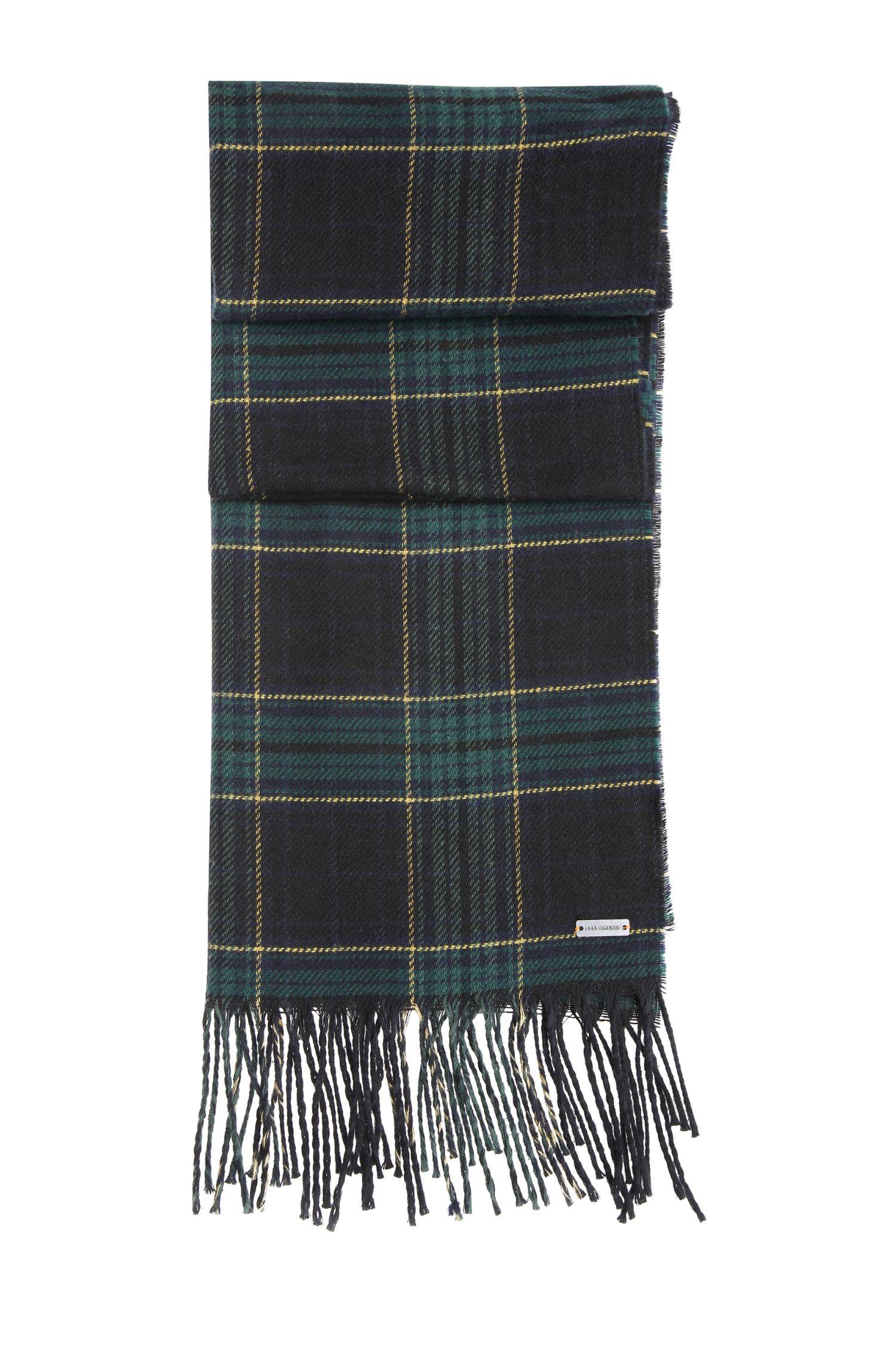 Geruite sjaal van een scheerwolmix met katoen: 'Nataniel'