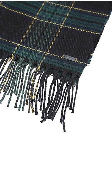 Karierter Schal aus Schurwoll-Mix mit Baumwolle: ´Nataniel`, Schwarz
