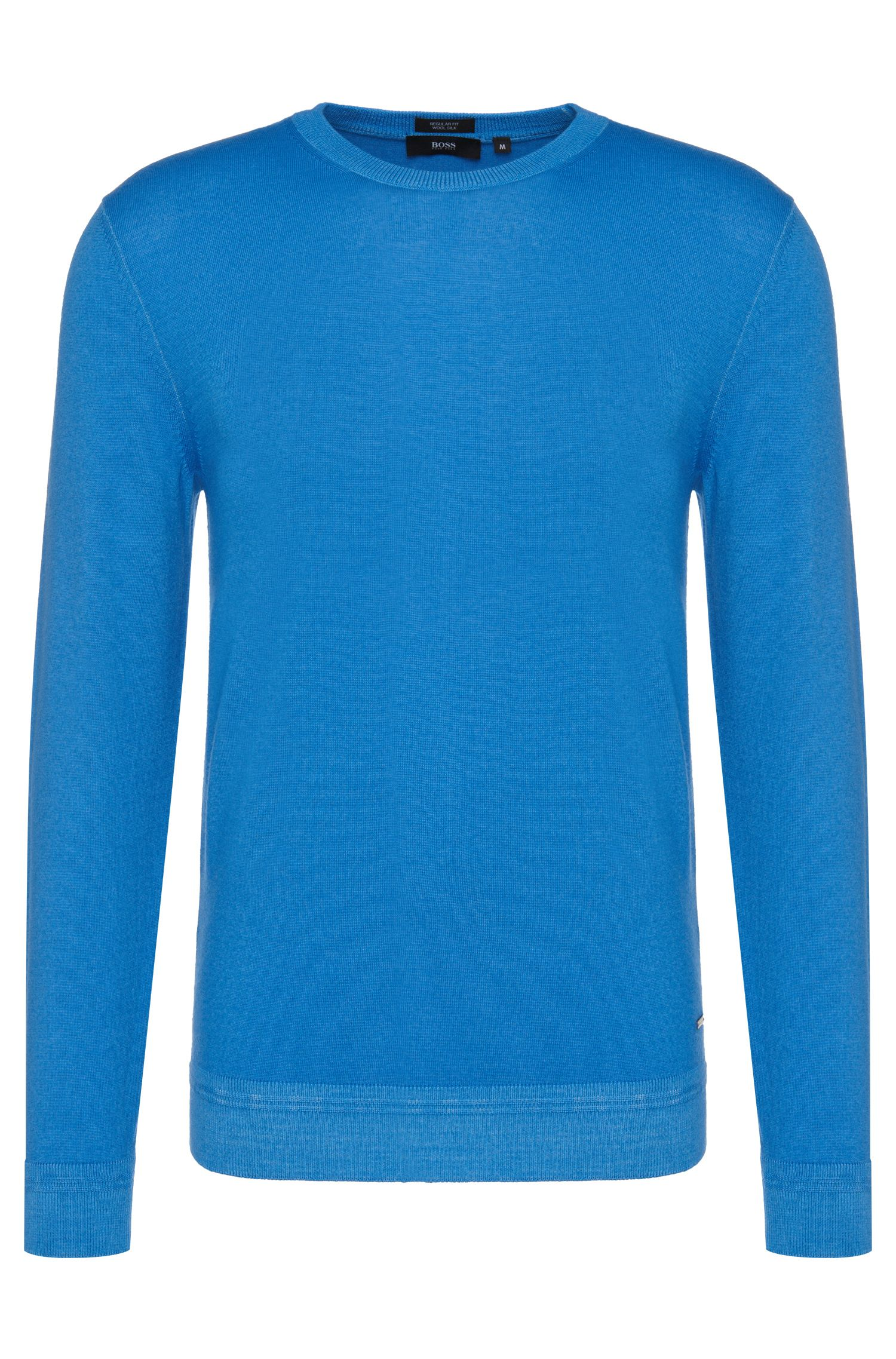 Regular-fit sweater in new-wool blend with silk: 'Baci'