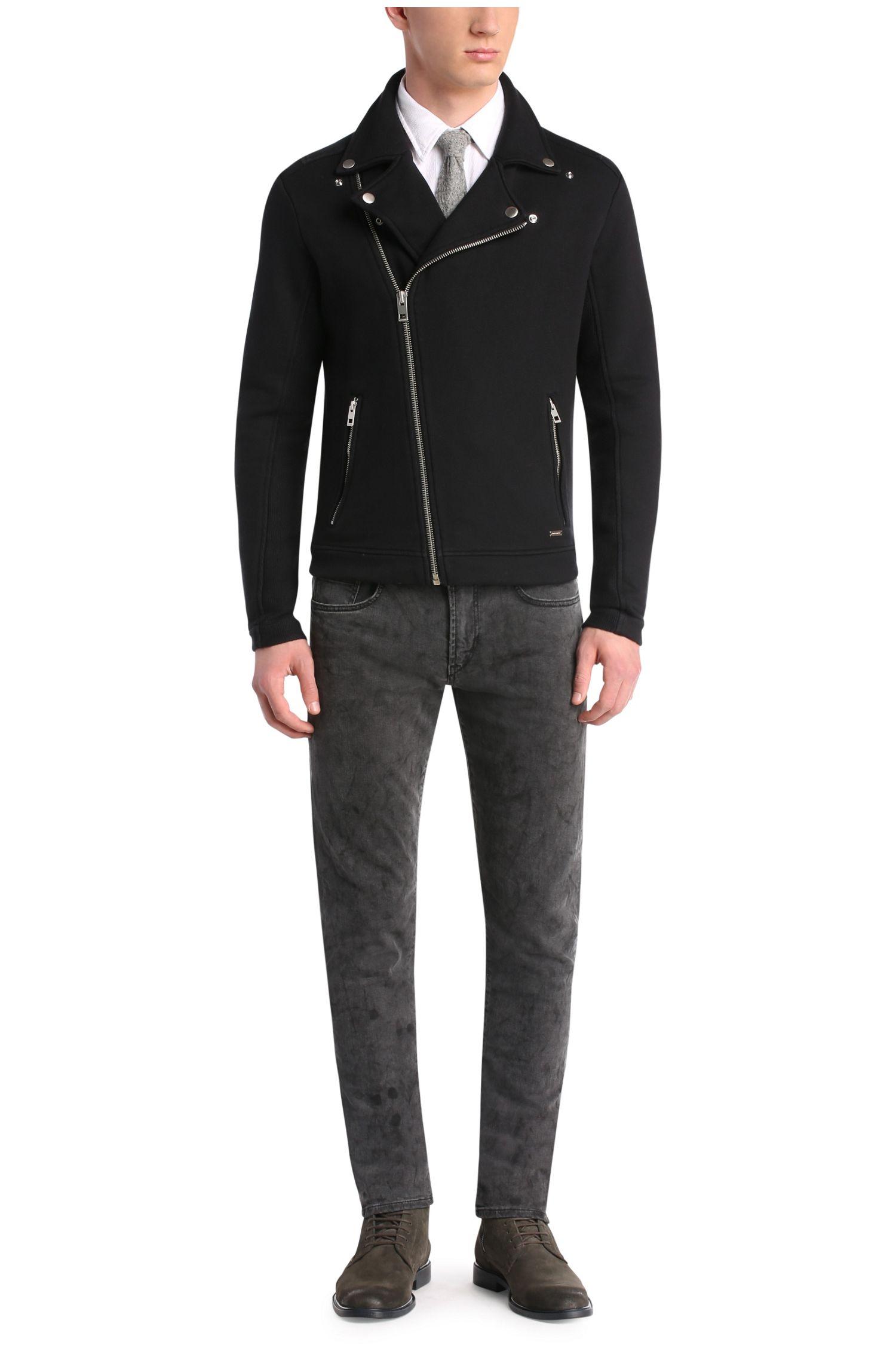 Sweatshirt-Jacke aus Baumwolle im Biker-Stil: ´Zpike`