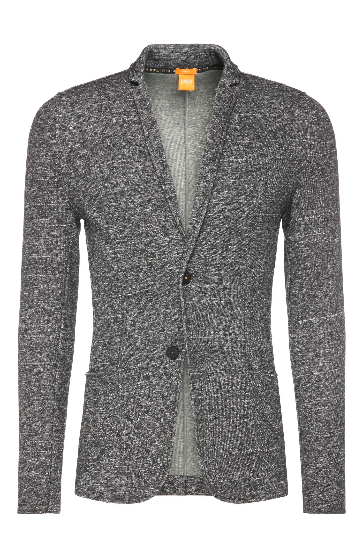 Slim-fit jacket in cotton blend with wool: 'Woyage'