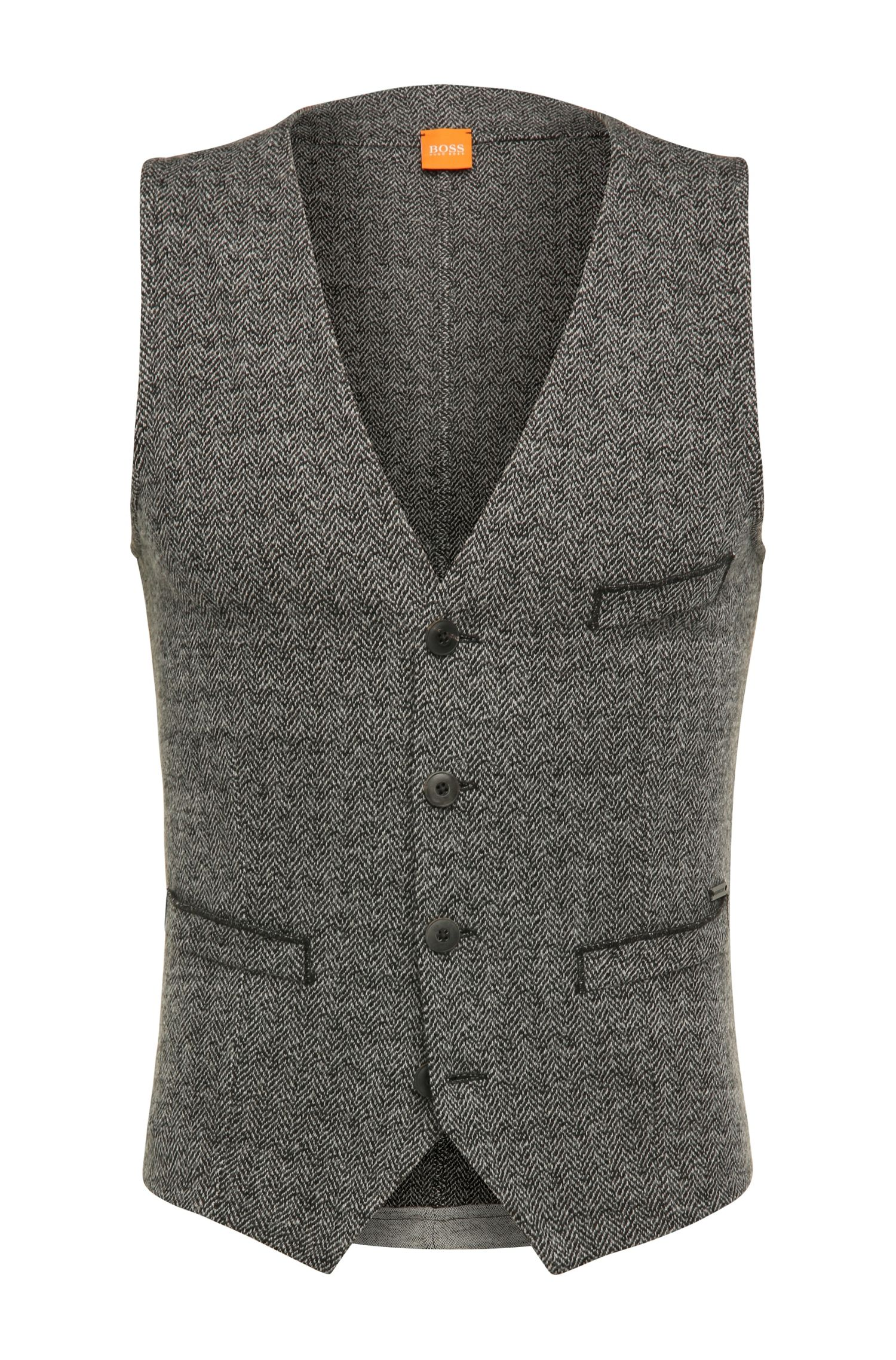 Gilet Slim Fit en coton mélangé à de la laine, orné d'un motif à chevrons: «Wiktoria»