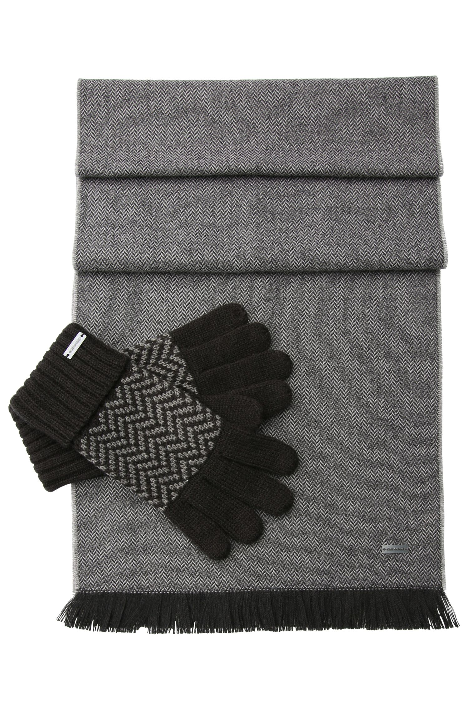 Set comprising a scarf and gloves in a fabric blend with wool: 'N-Set'