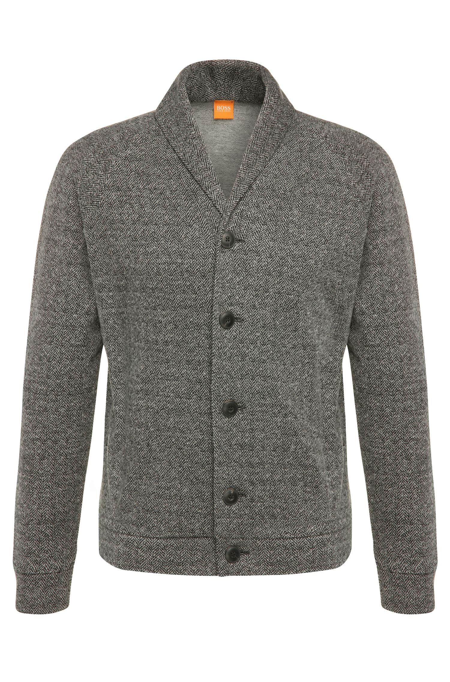 Narrow cardigan in cotton blend with wool: 'Wictim'