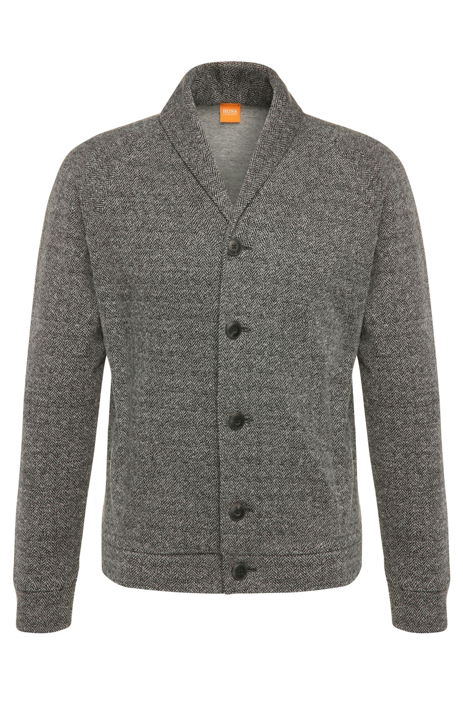Schmaler Cardigan aus Baumwoll-Mix mit Wolle: ´Wictim`