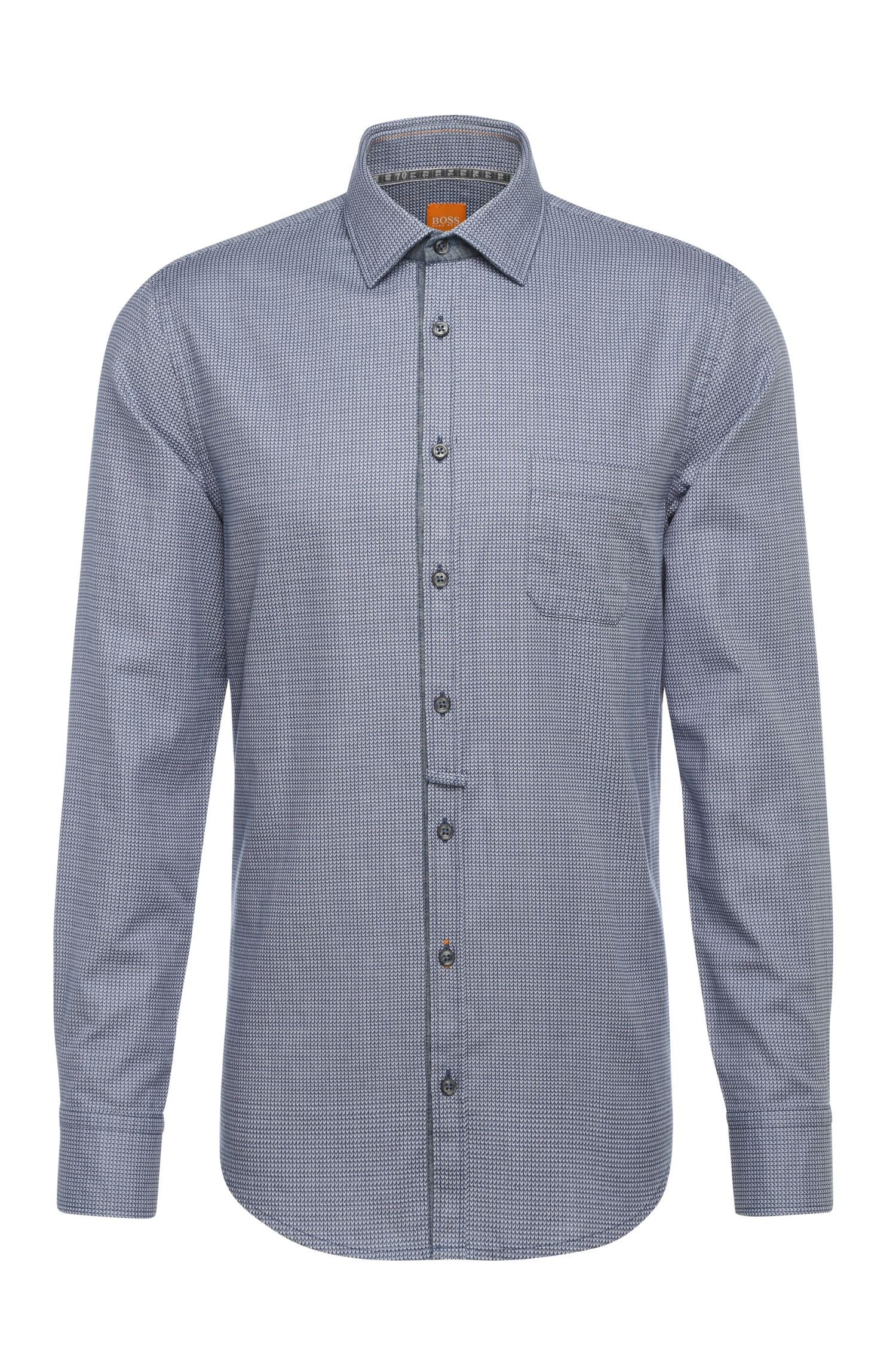 Finely patterned slim-fit cotton shirt: 'EslimE_1'