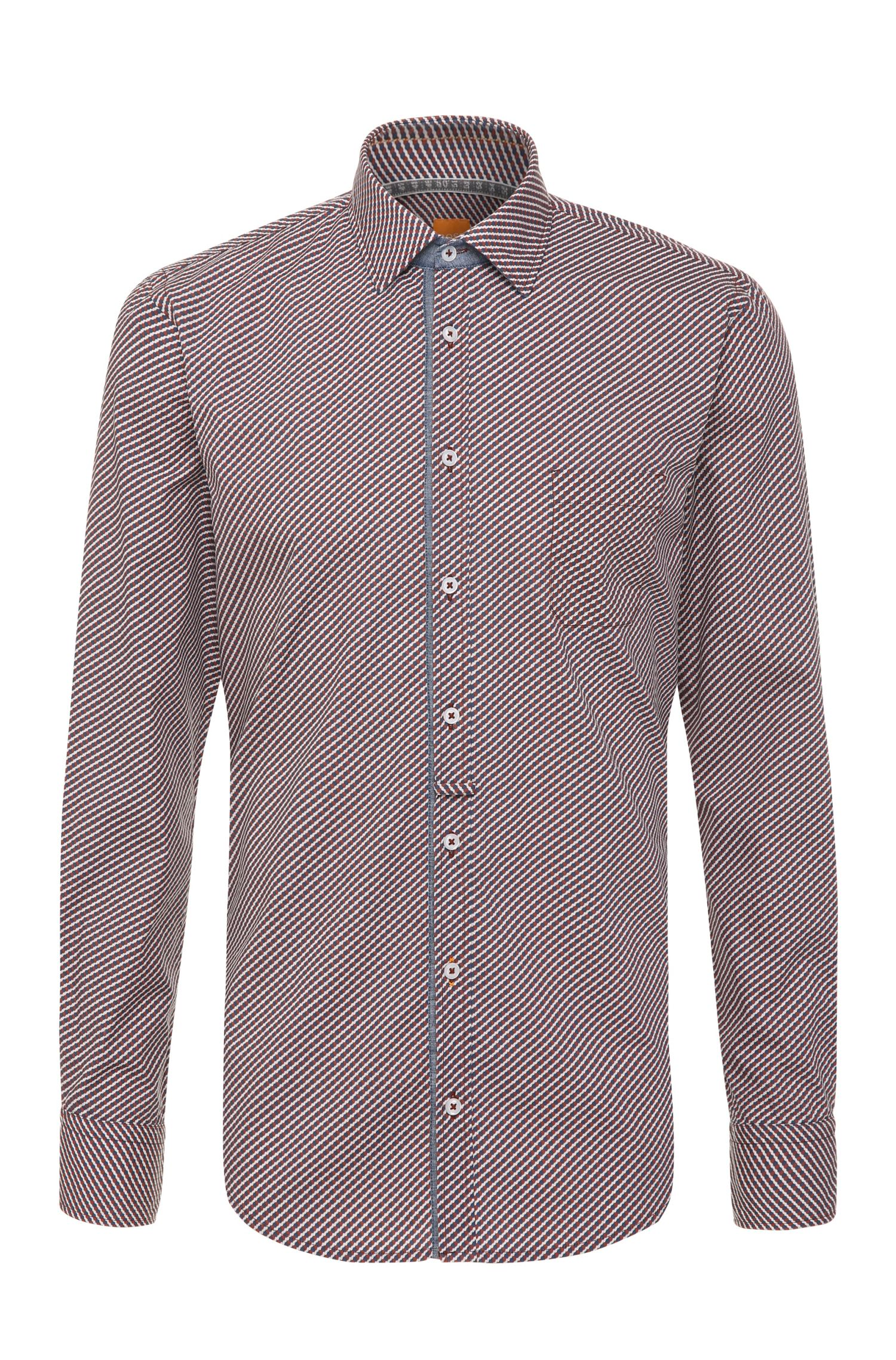 Slim-fit cotton shirt with Paisley pattern: 'EslimE_1'