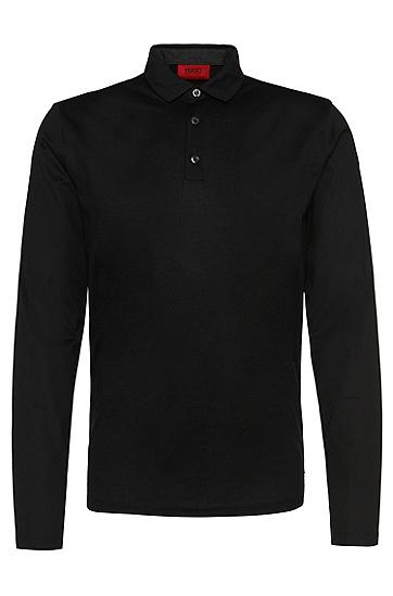 Regular-Fit Longsleeve-Poloshirt aus Baumwolle: 'Delato', Schwarz