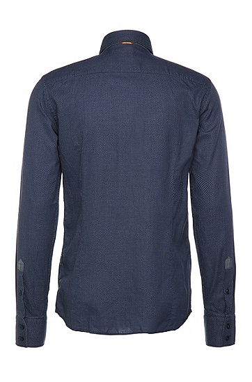 Fein gemustertes Slim-Fit Hemd aus Baumwolle: ´EslimE_1`, Dunkelblau