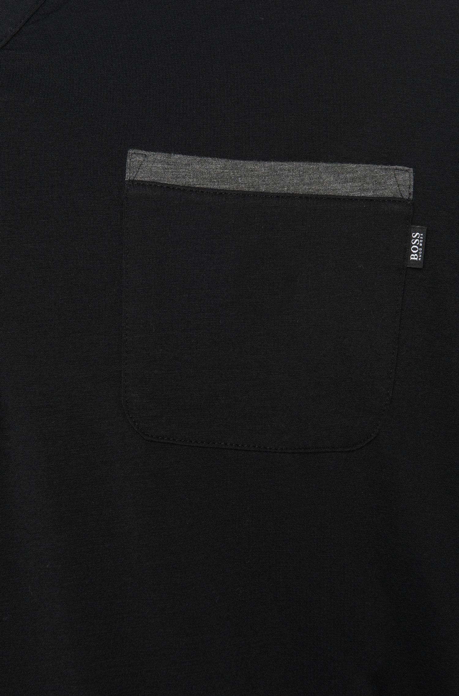 Pyjama-Shirt aus Baumwoll-Mix mit kontrastfarbenen Paspeln: 'LS-Shirt BP'