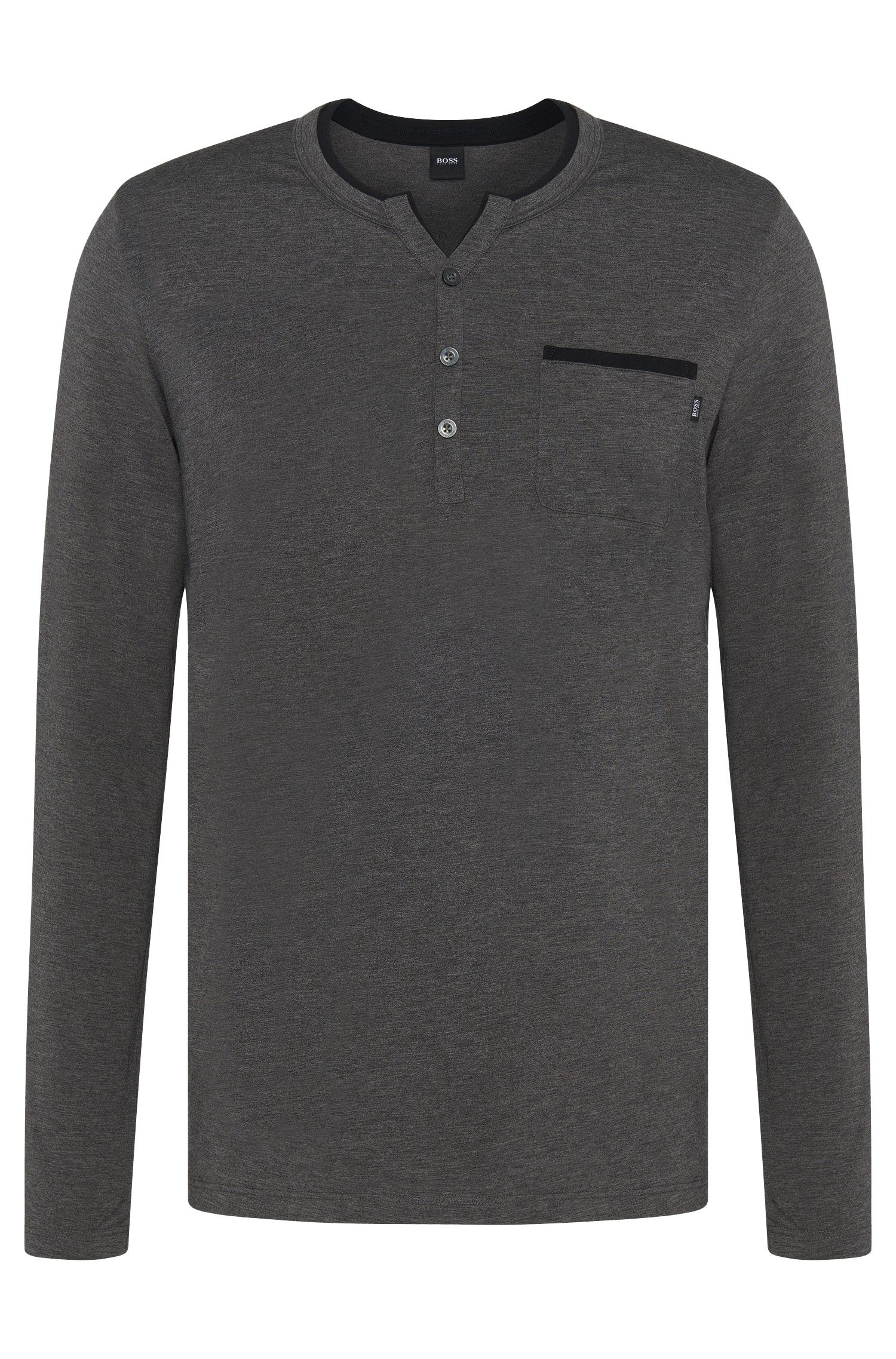 Pyjama shirt in cotton blend with colour-contrasting piping: 'LS-Shirt BP'