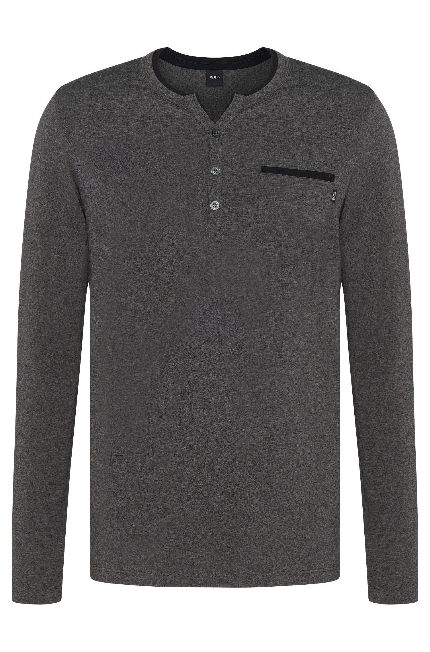 T-shirt de pyjama en coton mélangé à passepoils de couleur contrastante: «LS-Shirt BP»