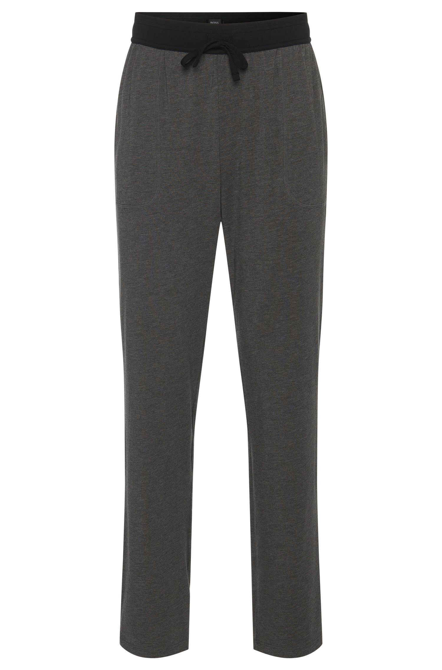 Pyjama bottoms in cotton blend with contrasting colour waistband: 'Long Pant CW'