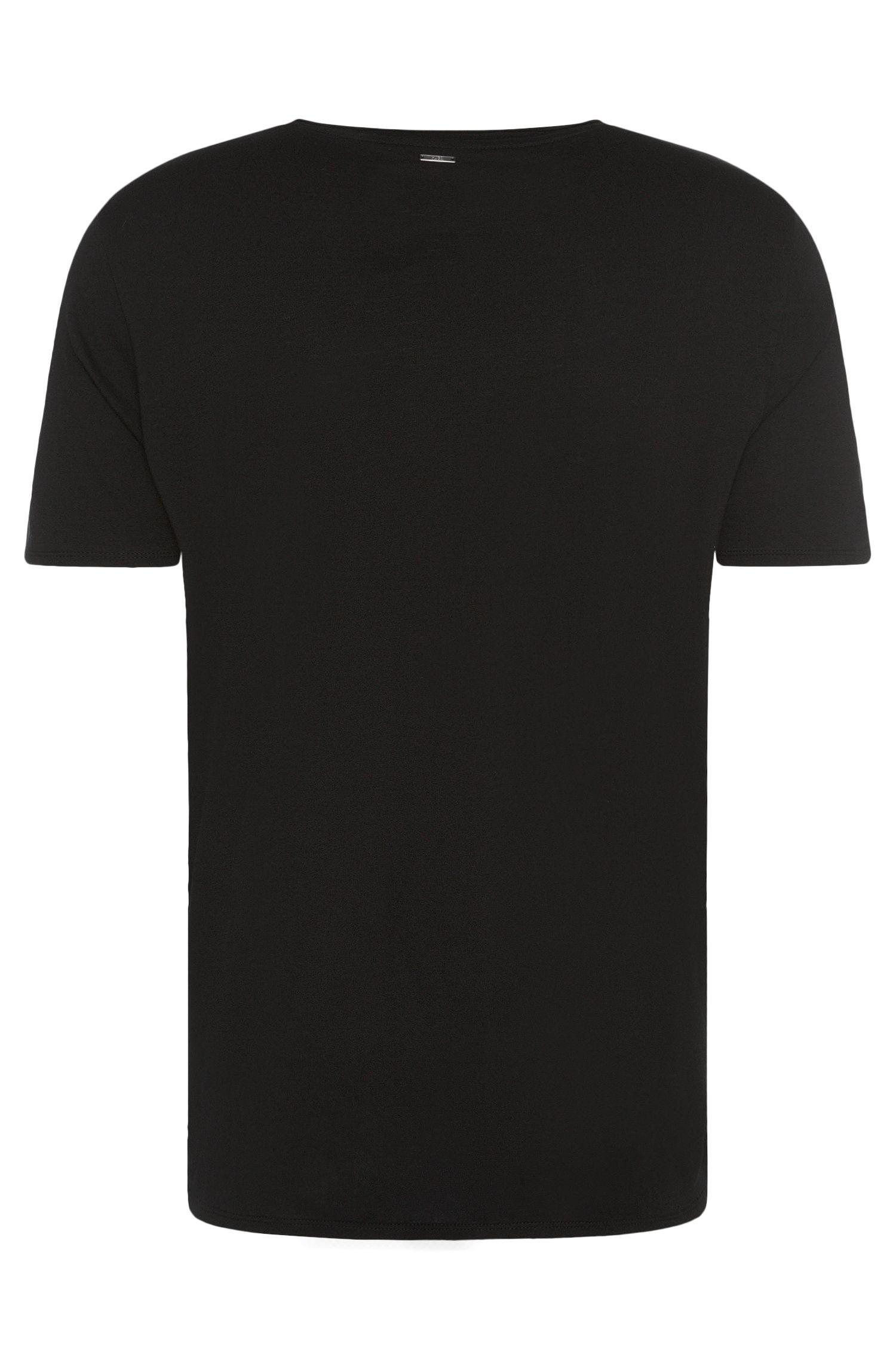 Loose-Fit T-Shirt aus Viskose-Mix mit Baumwolle und Wolle: 'Dorleone'