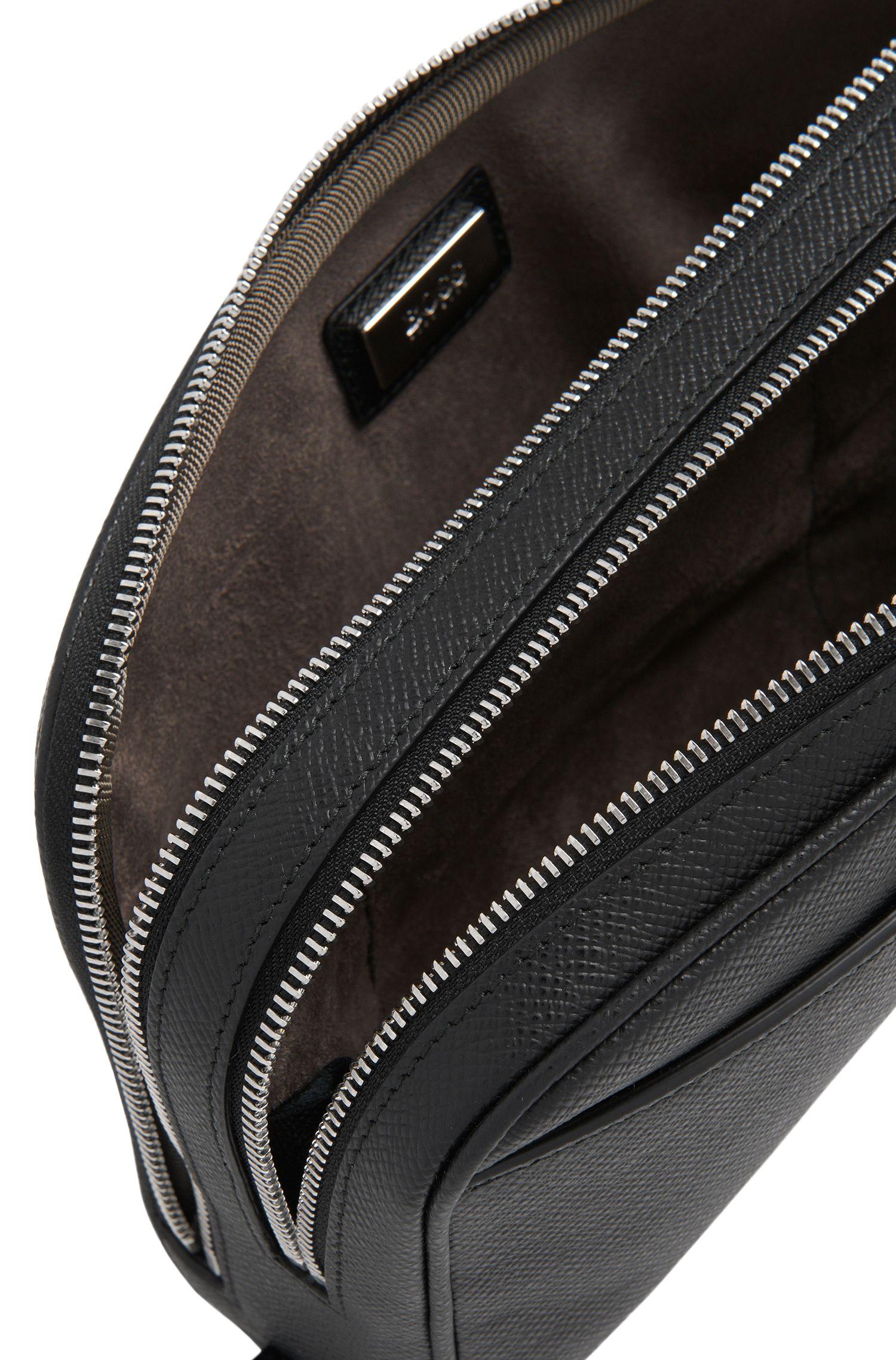 Tasche aus Leder mit herausziehbarem Griff: 'Signature_D zip poch'