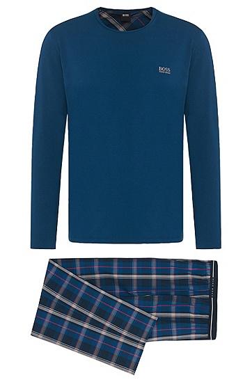 Pyjama aus Baumwolle im Muster-Mix: 'Set Long', Dunkelblau
