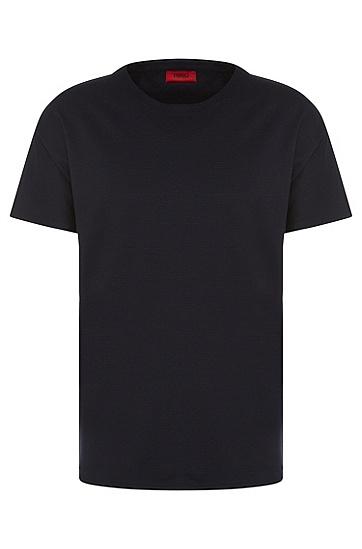 Loose-Fit T-Shirt aus Baumwolle mit geriffelter Struktur: 'Dimonos', Dunkelblau