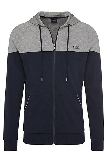 Kapuzen-Sweatjacke aus reiner Baumwolle: 'Jacket Hooded', Dunkelblau