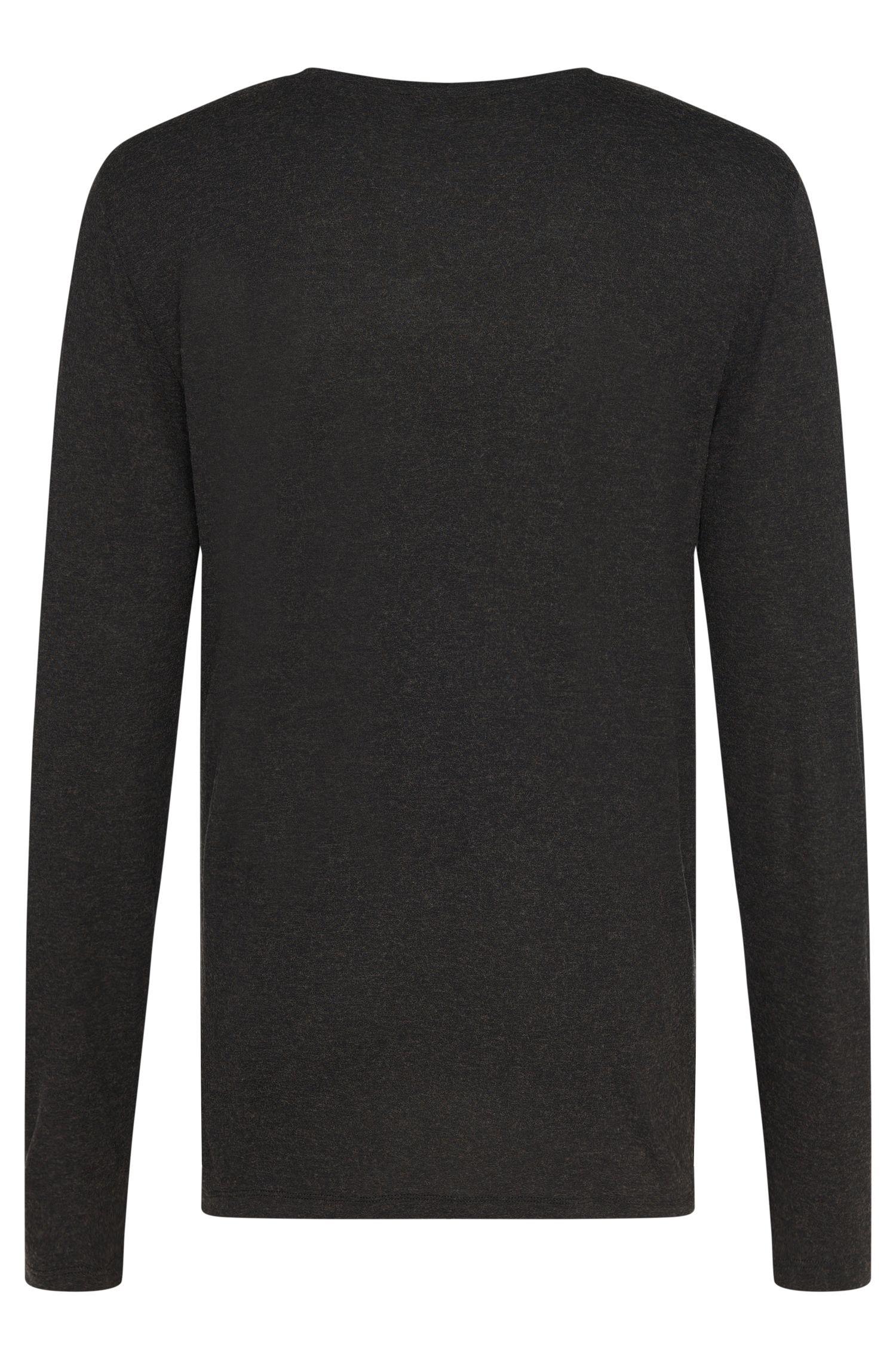 Gemêleerde regular-fit shirt met lange mouwen van een viscosemix met wol: 'Distone'