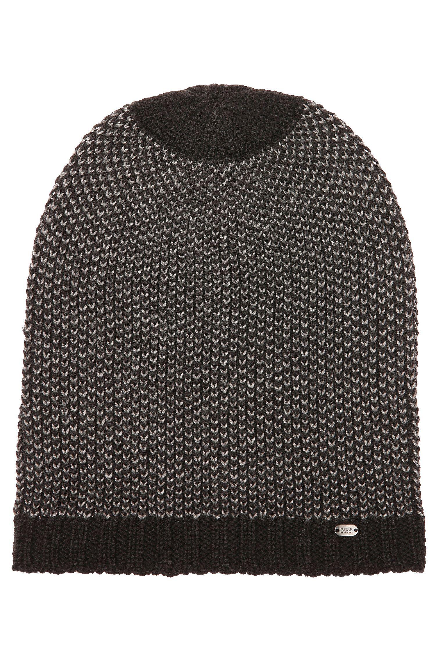 2-tone knitted hat in a wool blend: 'Birdseye-Beanie'