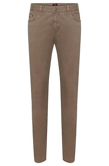 Fein gemusterte Slim-Fit Hose aus Stretch-Baumwolle: 'Delaware3-20', Beige