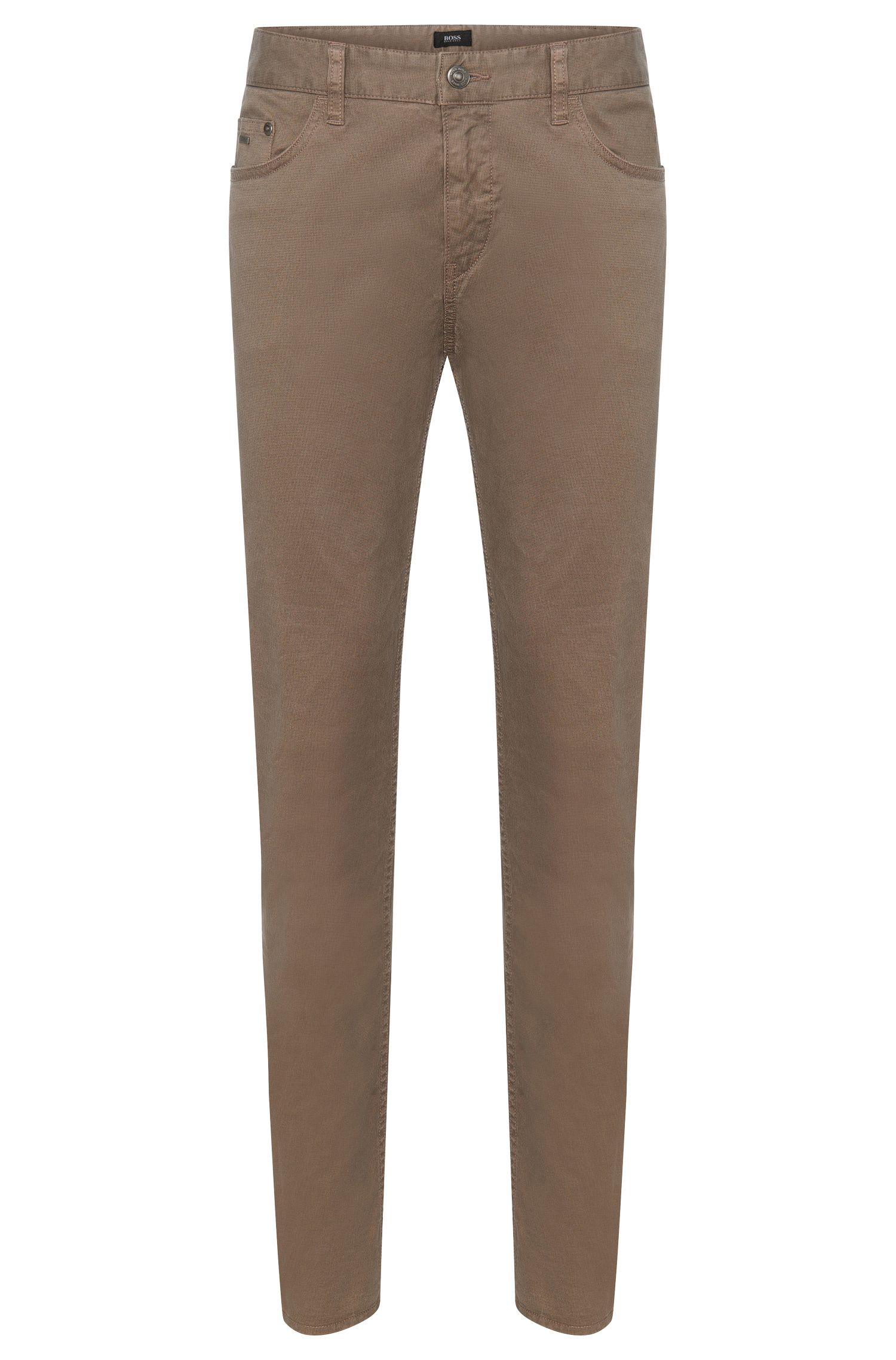 Finely patterned slim-fit trousers in stretch cotton: 'Delaware3-20'