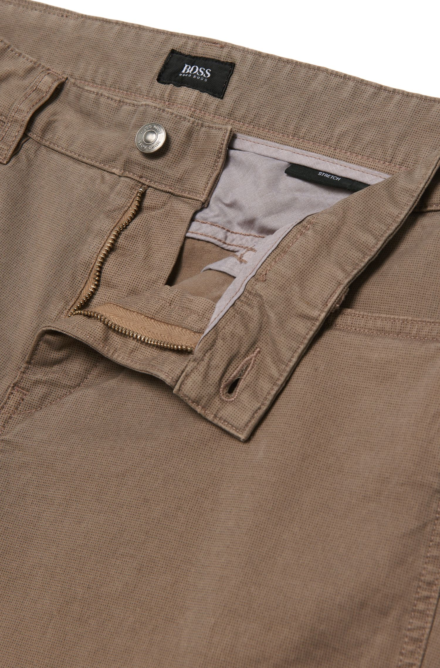 Pantalon Slim Fit à motif fin, en coton stretch: «Delaware3-20»