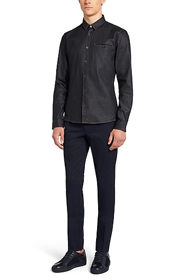 Slim-fit jeans shirt made from cotton blend in indigo dye: 'Ewaldo', Dark Blue