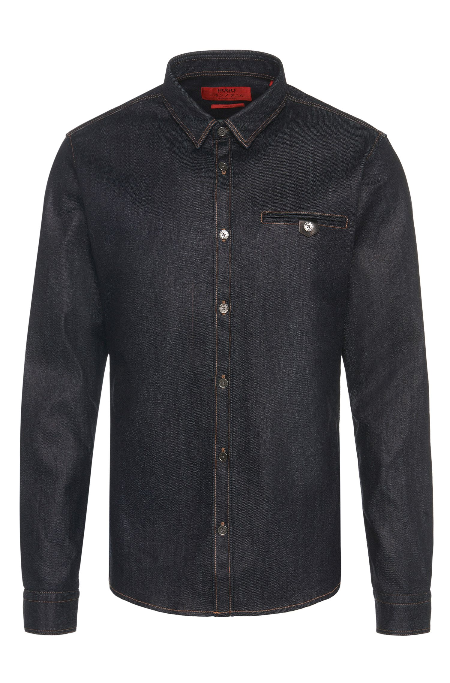 Camicia in jeans slim fit in misto cotone con colorazione indigo: 'Ewaldo'