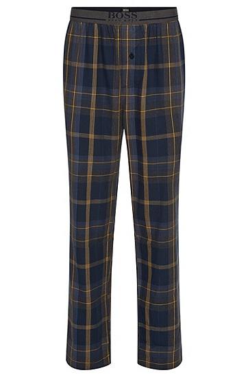Karierte Pyjama-Hose aus reiner Baumwolle: 'Long Pant EW', Anthrazit