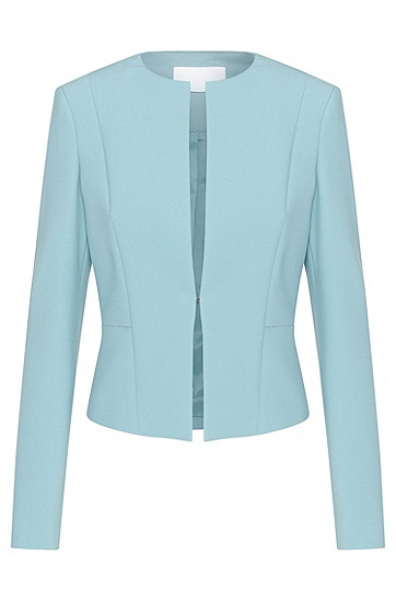 Fitted short blazer with hook fastening: 'Jency', Turquoise