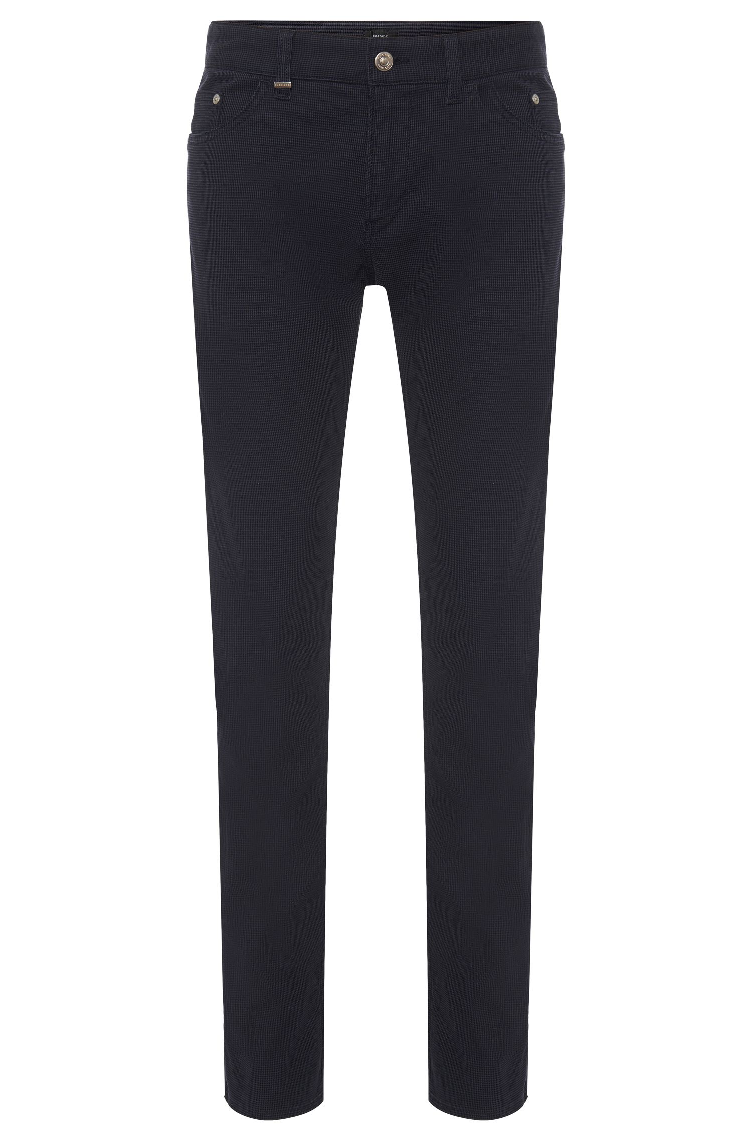 Pantalon Slim Fit structuré en coton stretch : « Delaware3-20 »