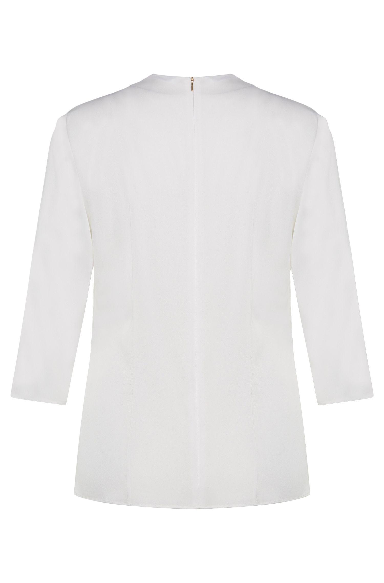 Chemisier uni en soie stretch extensible avec bordure décorative: «Ikarsi»