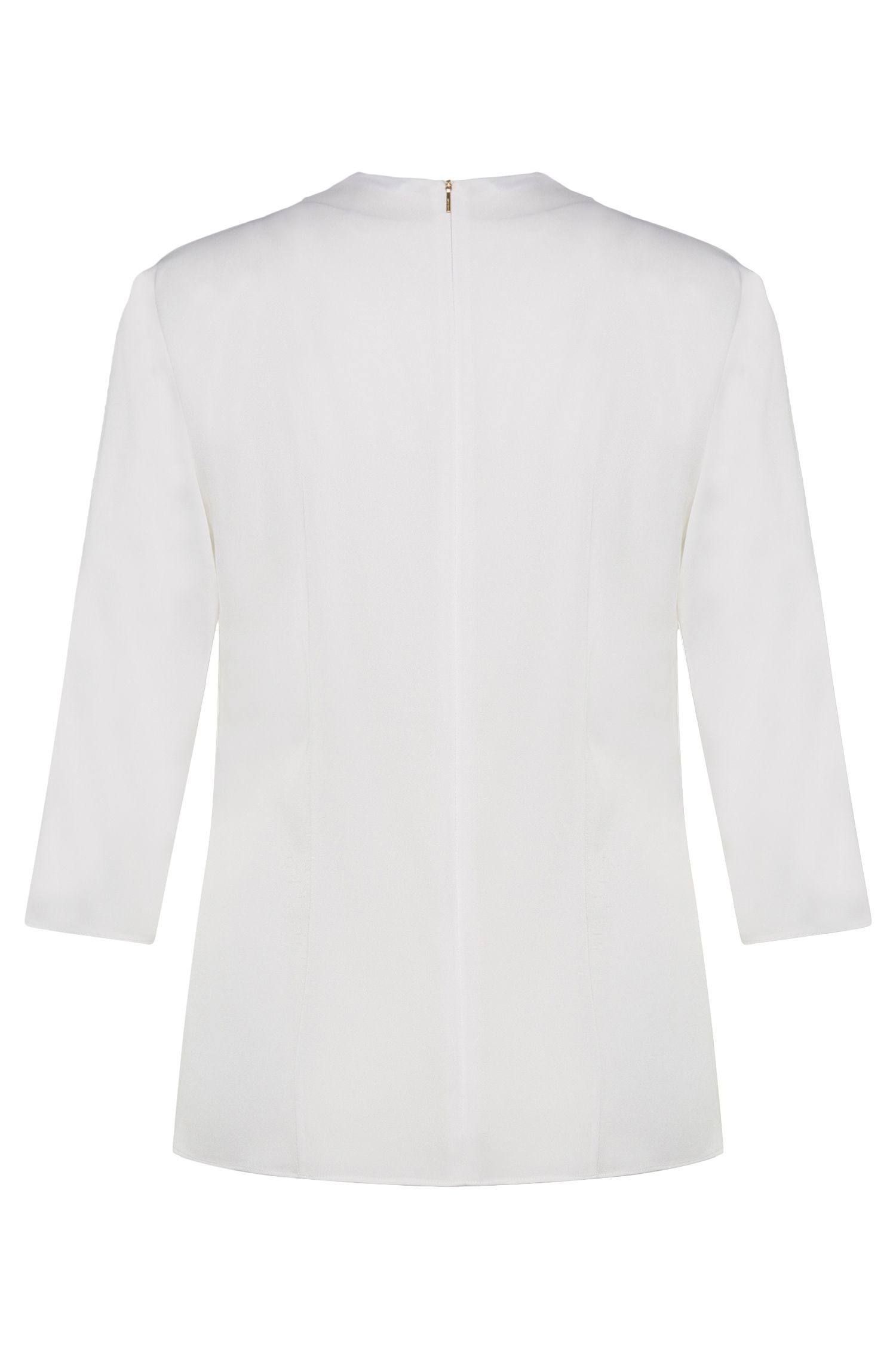 Unifarbene Bluse aus Stretch-Seide mit Blende: 'Ikarsi'