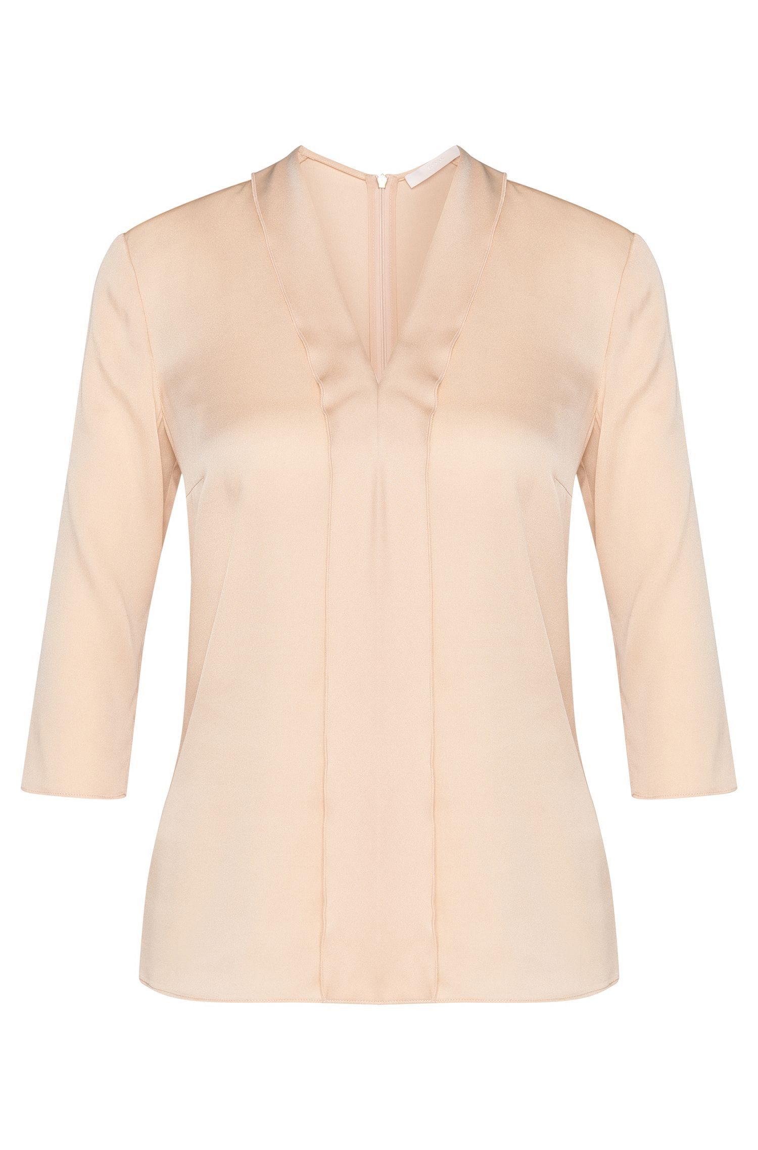 Plain blouse in stretch silk with panel: 'Ikarsi'
